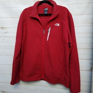North Face textured fleece jacket L red